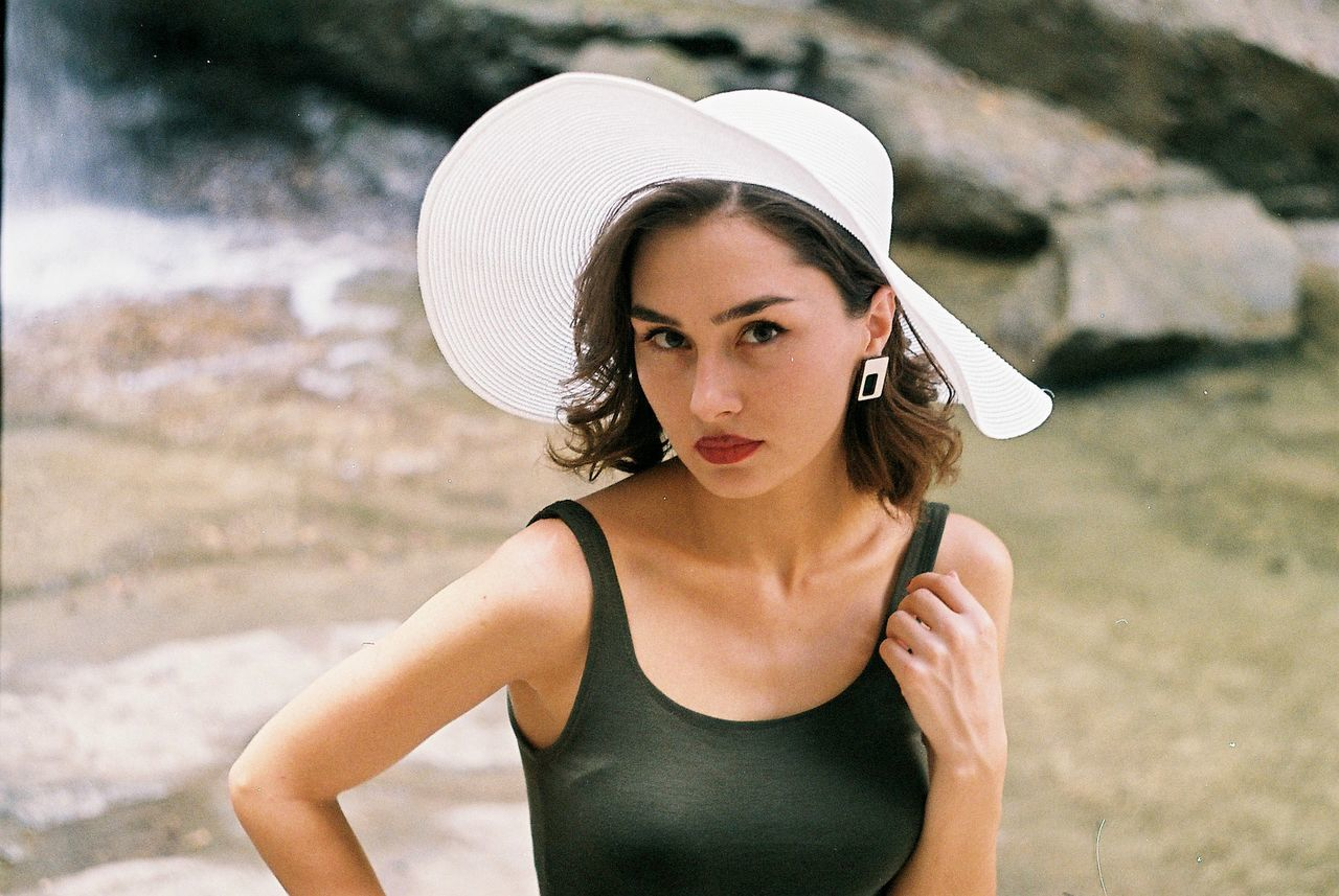 Adult Beach Beautiful Woman Beauty Close-up Day Fashion Film Film Photography Hat Headshot Human Body Part Human Lips Looking At Camera Nature One Person One Woman Only One Young Woman Only Only Women Outdoors People Portrait Summer Young Adult