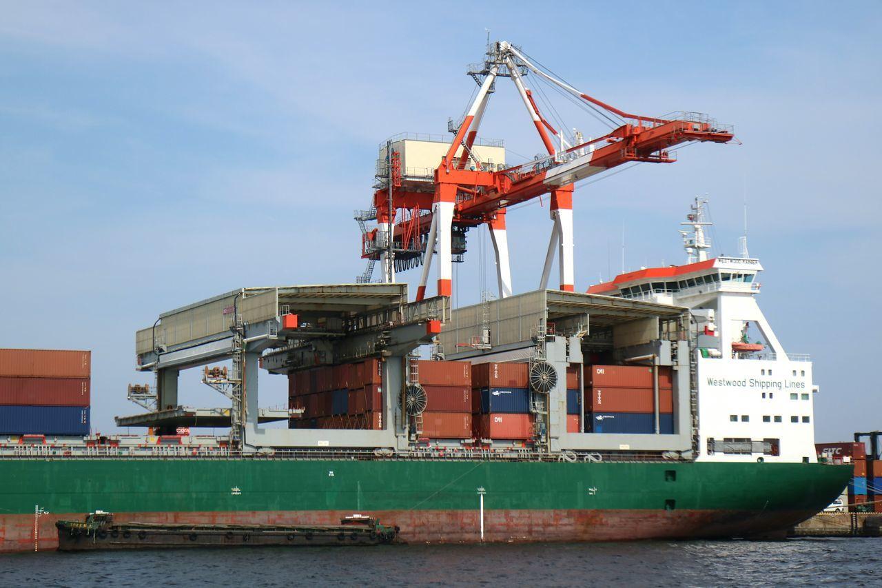 Gantry Crane Crane Container Container Ship Container Terminal Ship Bay Tokyo Japan Sea Aomi Sky Blue Sky