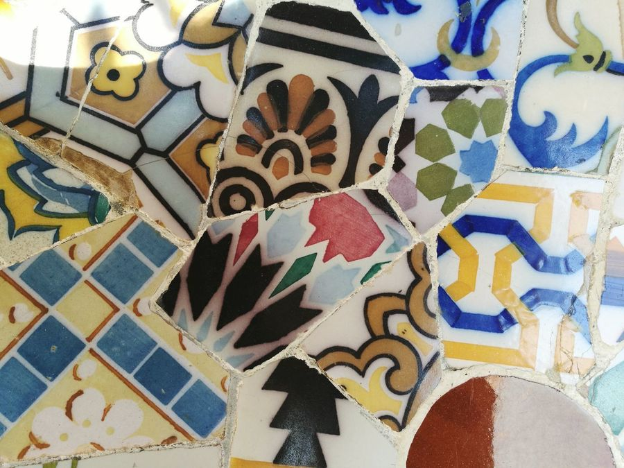 Pattern Multi Colored Mosaic Architecture Textured  Sculpture City Built Structure Building Exterior Travel Destinations HuaweiP9 Guell Monumental Zone Barcelona Guell Park Gaudi Park Art EyeEmNewHere Variation Backgrounds Wallpaper Art Is Everywhere Cut And Paste