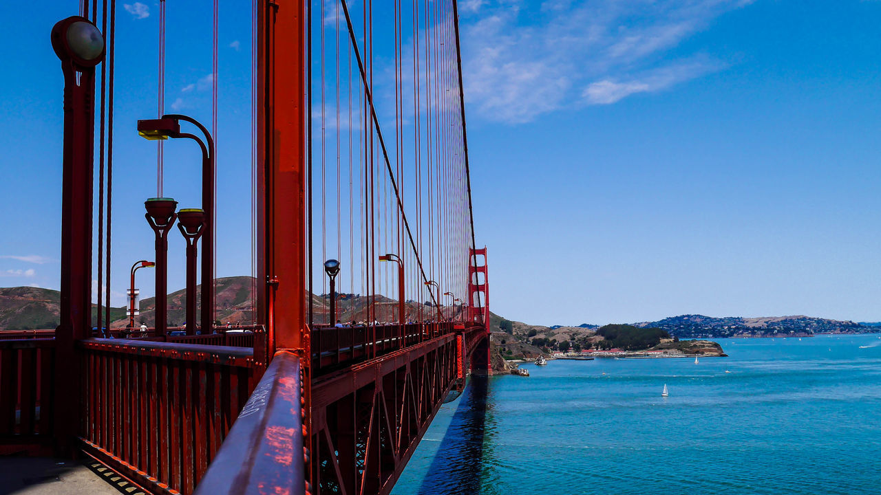 Fantastic view on the Golden Gate Bridge Architecture Bay Blue Blue Sky Bridge Bridge - Man Made Structure Clouds And Sky Connection Day Engineering Famous Place Golden Gate Bridge Long Red River San Francisco Ship Summer Sunny Transportation
