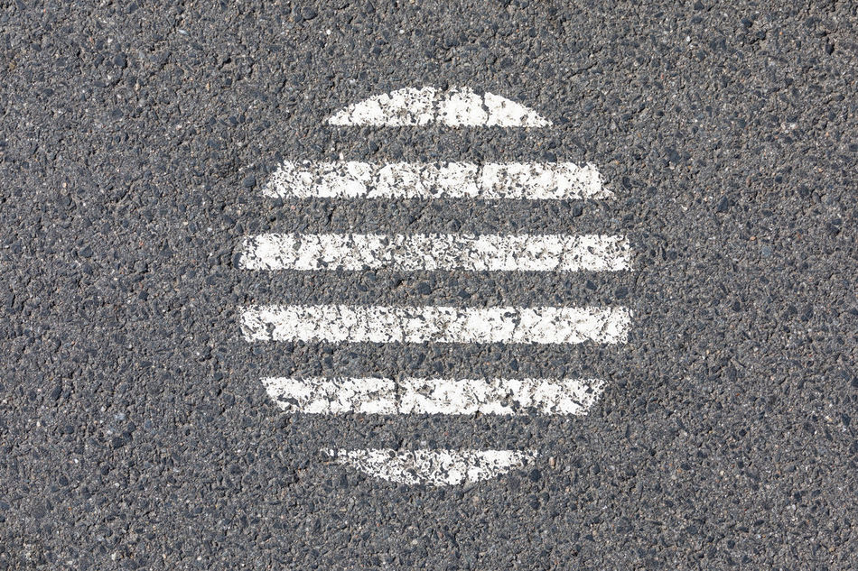 Circle made of white horizontal stripes on asphalt road Abstract Asphalt Backgrounds Circle City Close-up Directly Above Distressed Gray Gray Background High Angle View Horizontal In The Center No People Outdoors Pattern Repetition Road Road Marking Street Striped Surface Level Symmetry Textured  White Color
