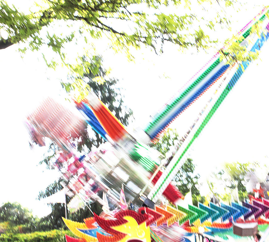 Amusement Park Blurred Blurred Motion Colurfull Day Fairground Frisbee Rid Frisbee Ride Funfair Funfair Ride Hip Hop Fly Low Angle View Motion White Background