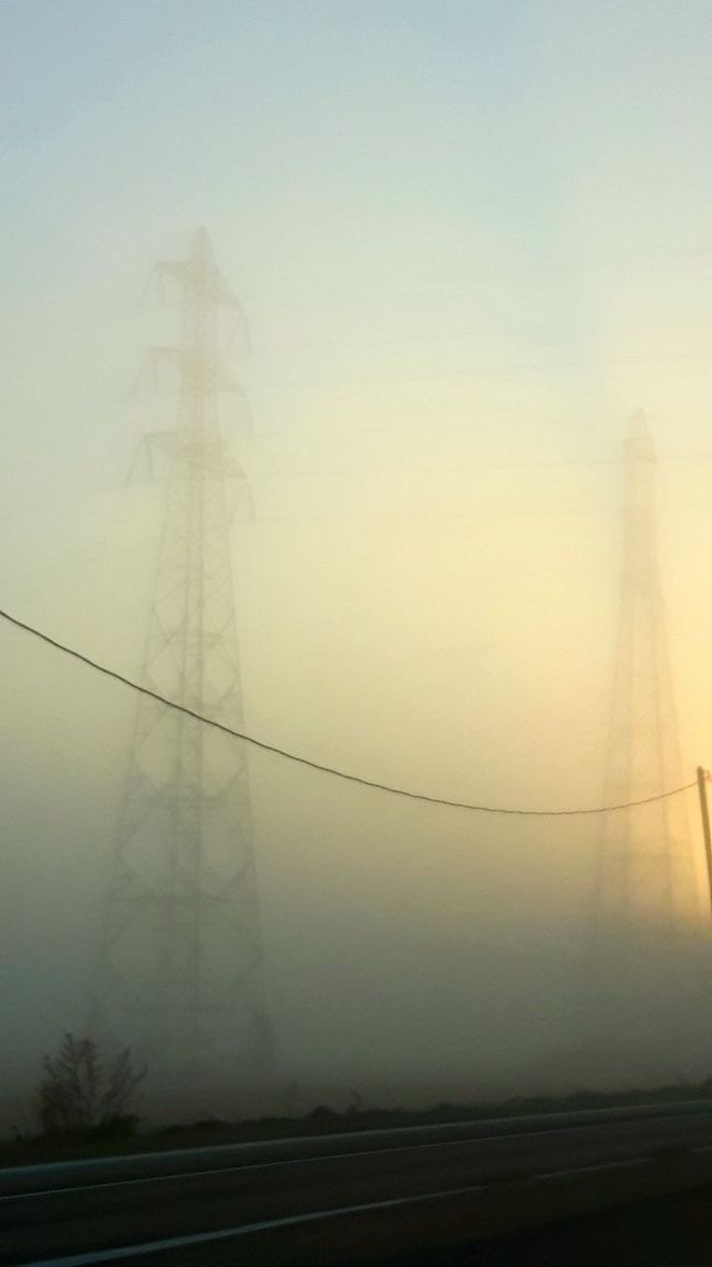 Fog Foggy Morning Fog_collection Electricity Pylon Electric Lines Sunrise Sunrise_Collection Nature Nature_collection Naturelovers Nature Photography EyeEm Nature Lover EyeEm Gallery Eye4photography  EyeEm Best Shots Street Photography On The Way To Work Herblay - Route De Conflans - France