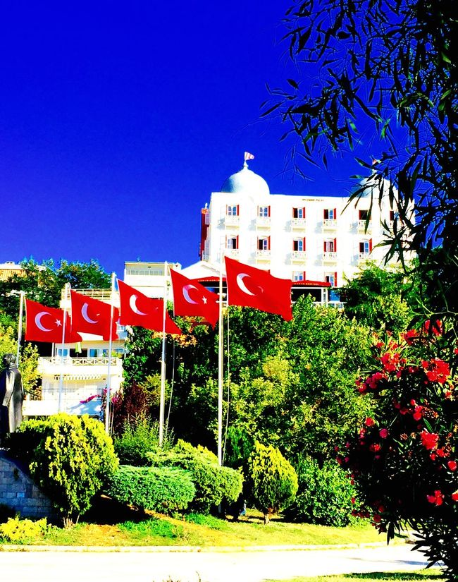 Flags In The Wind  Flags Turkishflags Historical Building Old Building  Mobile Photography Mobilephotography IPhoneography Red Flowers Sky Clear Sky Princeislands Prinkipo