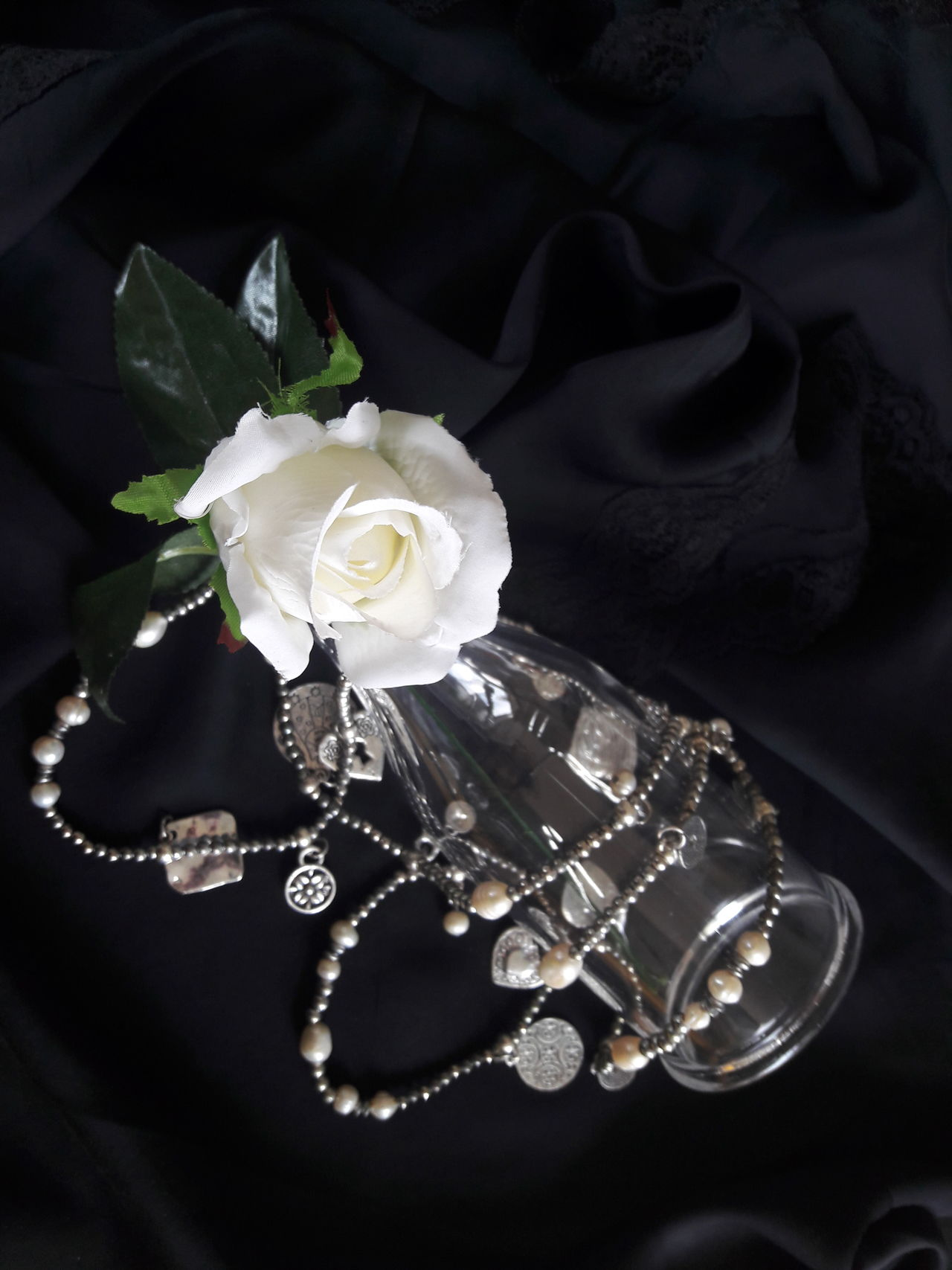 """Purity"" Luxury Jewelry Fragility Flower Rosé White Rose Purity Pureness Chastity Concept Conceptual Close Up White Black Silver  Black And White Pearls White Pearls Silk Lace Black Silk Social Black Background No People Femininity EyeEmNewHere"