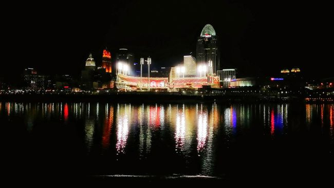Bridges Water Reflection Lights On Water Watercolor Waterscape Cities At Night Riverscape Cincinnati