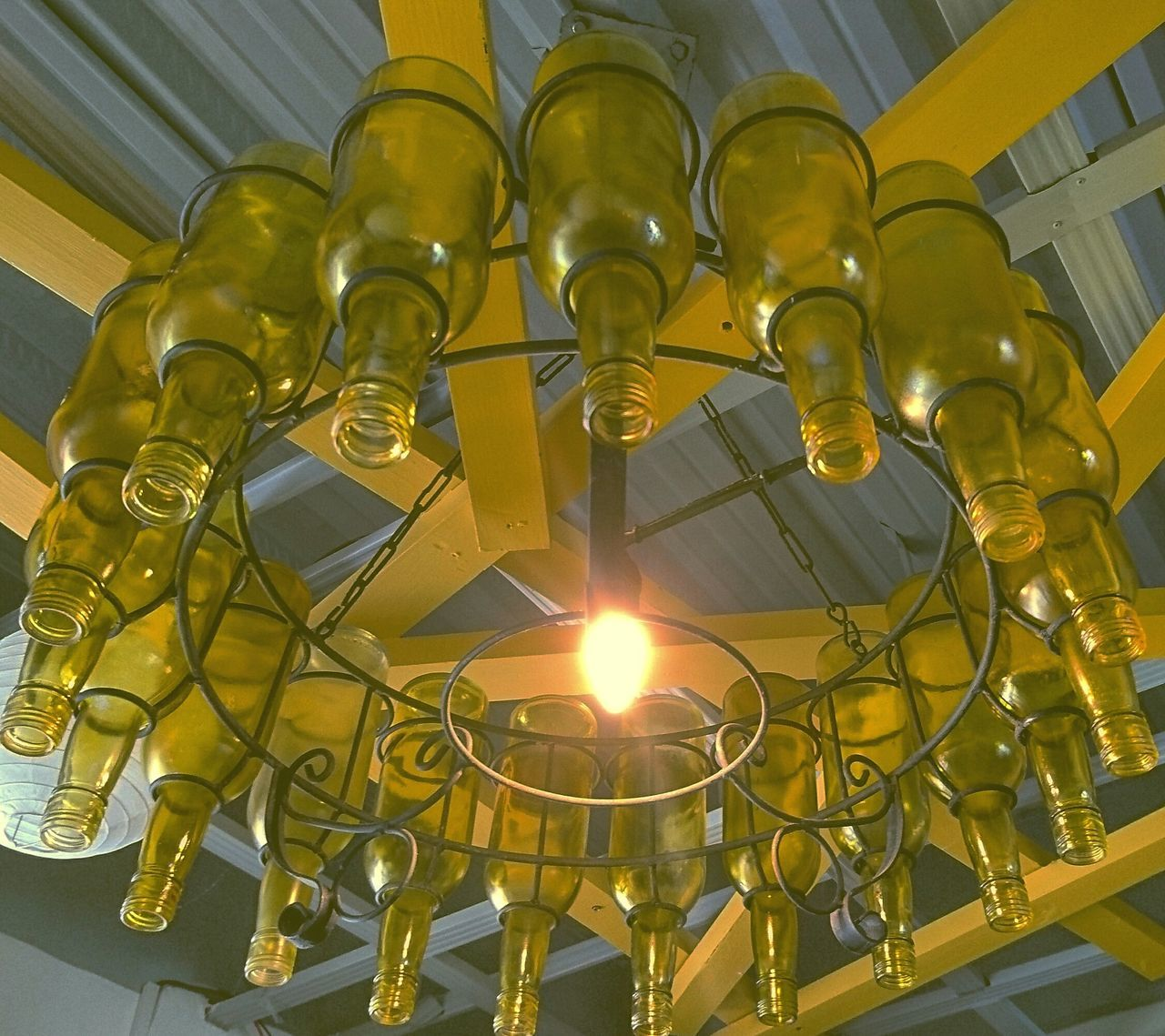 I'm gonna ssswwwiiinnggg...😎😂 The Chandelier at Yellow Lantern Cafe Antipolo City Philippines Interior Design Decor 43 Golden Moments Yellow Light Fixture Bottle Chandelier Eyeem Philippines Travel Photo Mobileshot Sony Shot XPERIA Cafe Fine Art Photography Showcase July
