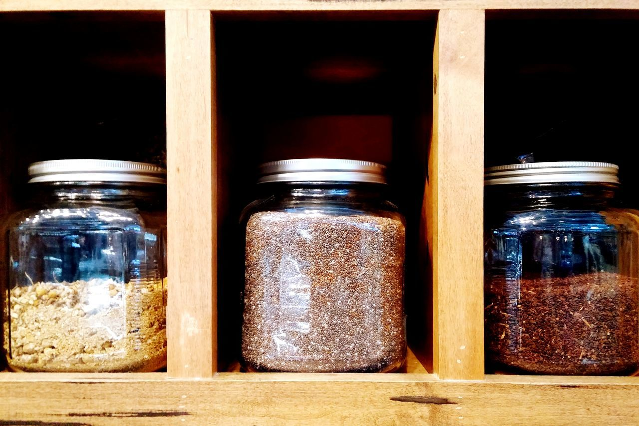 Jars of spices. EyeEm Best Shots Spices Jars  Cooking Food Wood DIY Do It Yourself Masonjars Seeds Getting Inspired Everything In Its Place Mason Jar Organized Organic Food Natural Neutral Tones Natural Tones