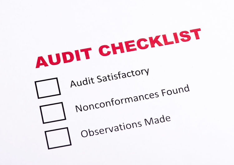 Audit Checklist evaluation Business List Of Kings Mark Audit Audit Level Checklist Close-up Complaint Compliance Evaluation Feedback Internal Paper Questionaire Ranking Report Satisfactory Text White Background