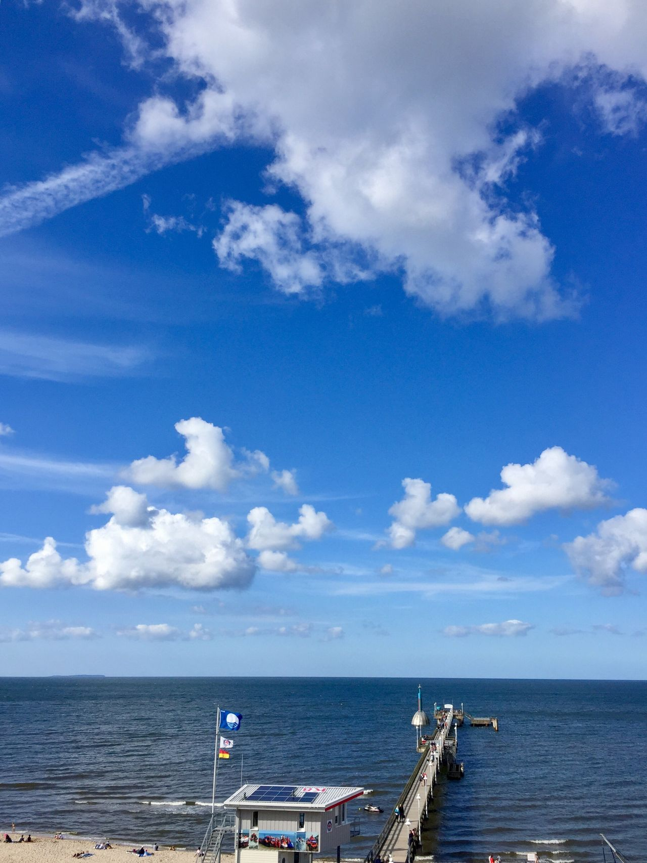 Sea Sky Cloud - Sky Water Scenics Horizon Over Water Nature Day Beach Balticsea Usedom Zinnowitz Usedom, Germany View Seabridge Tranquility Blue Outdoors Tranquil Scene Beauty In Nature No People Nautical Vessel Blue Sky