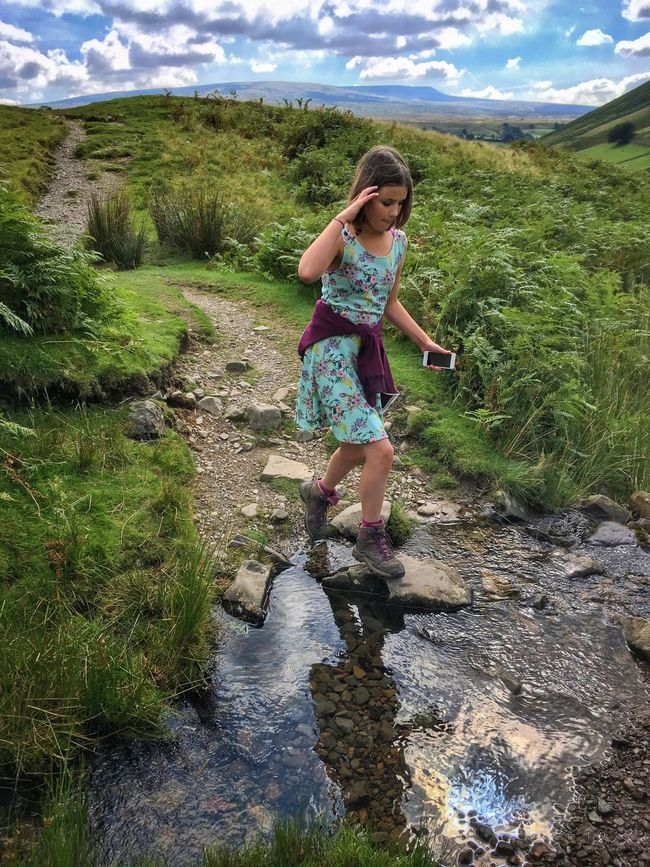 Howgill Fells Yorkshire Dales Hiking Trail Exploring Crossing Stream Bridleway Hills Climbing Clouds Sky Nature Outdoor Summer