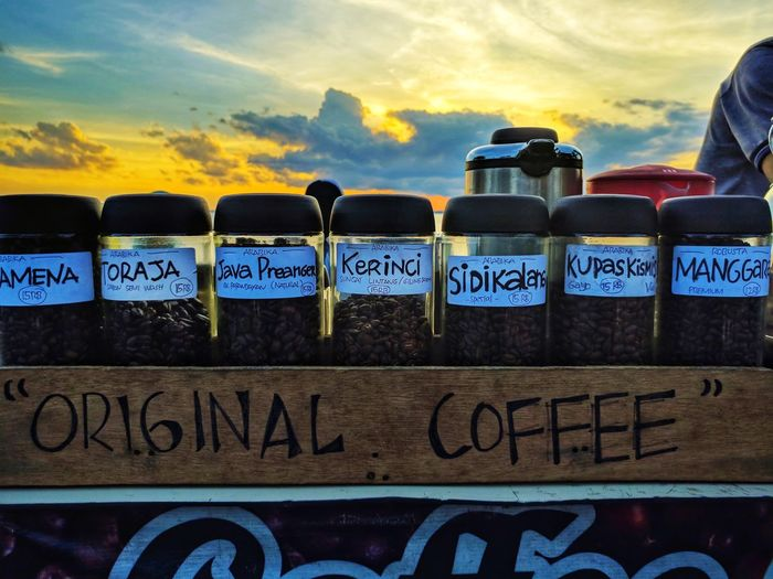 today's coffee ☕ #kindsofcoffe #originalcoffe #Indonesiancoffe Text Sunset Business Finance And Industry No People Outdoors Day Food