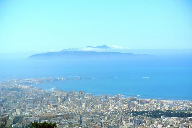 Trapani city view March weather start spring. Sea Water Day City Outdoors No People Scenics Horizon Over Water Sky Harbor Cityscape Mountain Nature