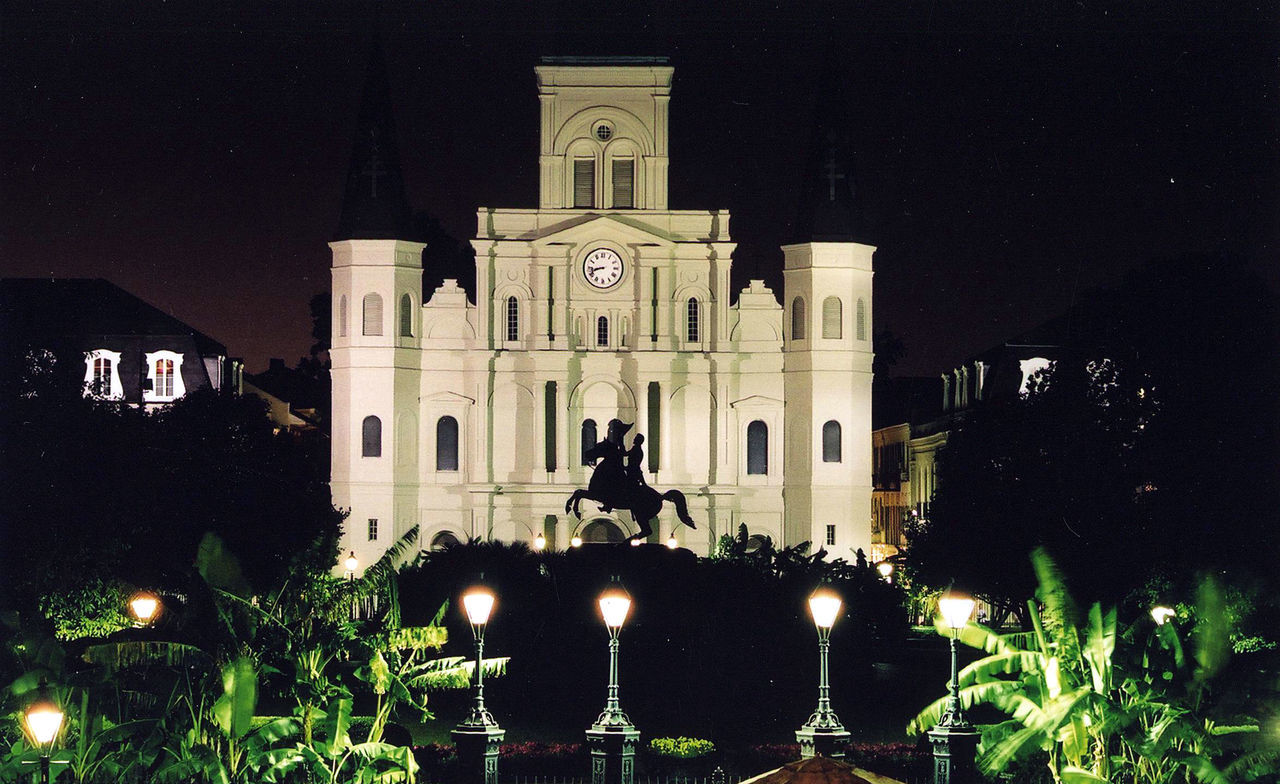 Architecture Building Exterior Built Structure French Quarter History Illuminated Jackson Square Night No People Outdoors Sculpture Statue