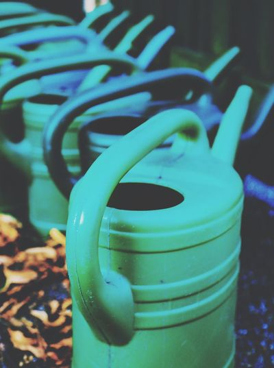 Gardening Garden Watering Gardeners Gardeners Tool Cans Can Wateringcan Wateringcans Turquoise Plastic Cans Pattern Pieces Pattern, Texture, Shape And Form
