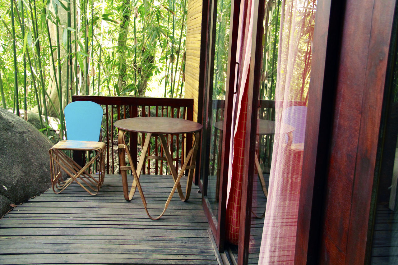 Bamboo Art Bamboo Canes Bamboo Forest Chair Curtain Day Indoors  Into The Woods Nature No People Peaceful Table Tranquil Scene Tree Tree Hut Wayanad Window Wooden House Wooden House Interior