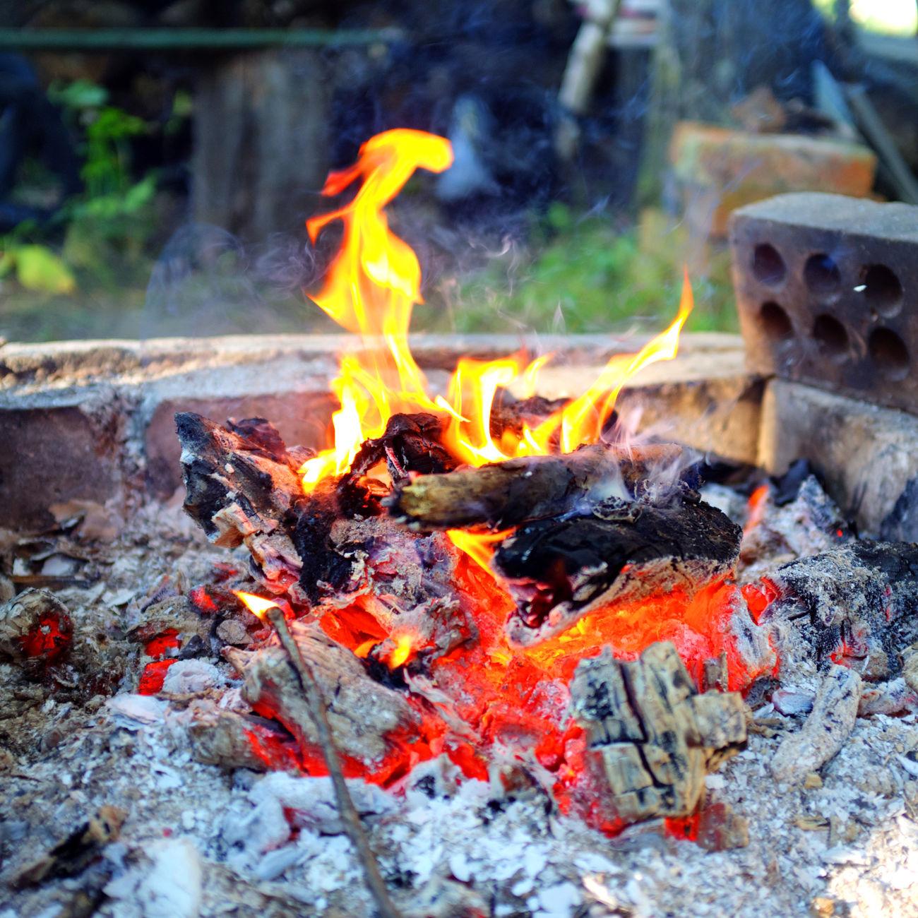 огонь костер пламя дрова