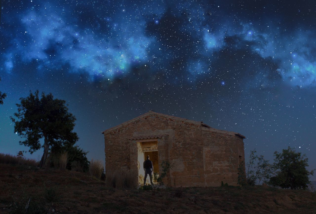 House between the stars Star - Space Night Built Structure Architecture Astronomy Old Ruin Sky Building Exterior Tree Galaxy Outdoors No People Constellation Milky Way Nature People Home Fragility Love Passion Italy Agrigento Sicily Men