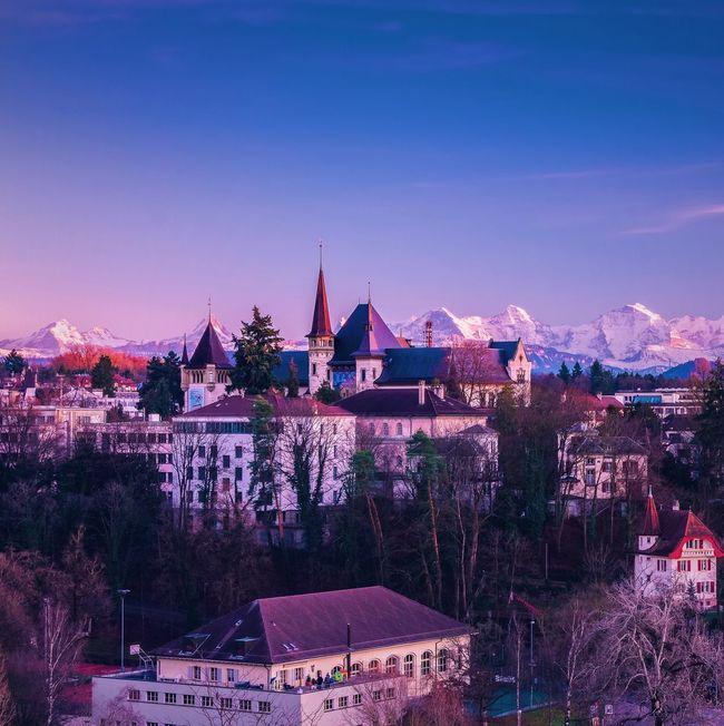 Old town of Bern Switzerland Landscape Cityscapes City Building Mountains Traveling Exploring
