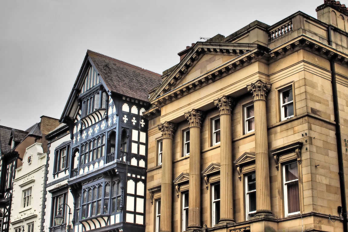 Architecture City Sky Façade Window Day Outdoors Town Hall No People Half-timbered Residential Building Low Angle View Building Exterior Built Structure Elizabethan Architecture A Taste Of Chester, UK Glorious Chester