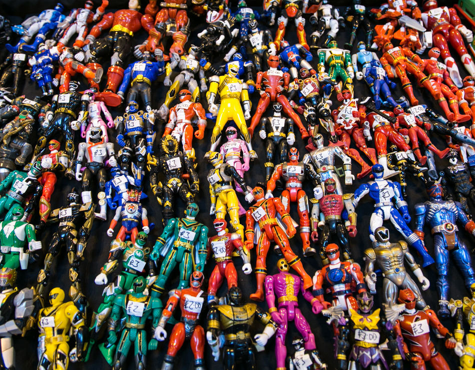 power rangers Abundance Action Figures Arrangement Choice Collection Cultures For Sale Full Frame Hanging Large Group Of Objects Market Market Stall Multi Colored Power Rangers Retail  Shop Store Toys Variation