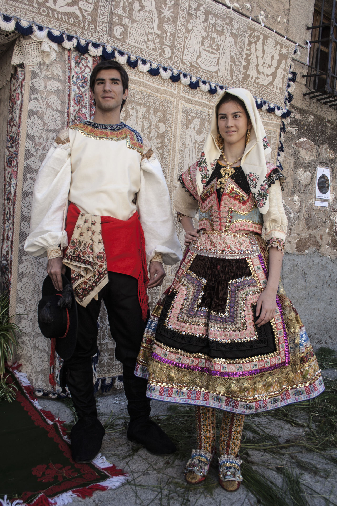 Architecture Cultures Day Front View Full Length Happiness Lagartera Lagartera Costumes Lagarterana Looking At Camera Outdoors People Portrait Real People Sari Smiling Standing Togetherness Traditional Clothing Two People Young Adult Young Women