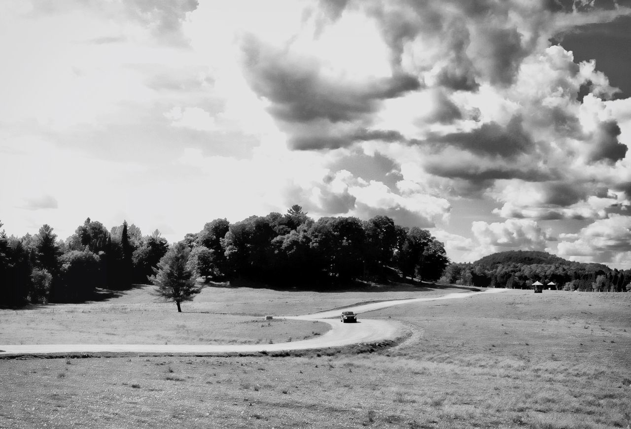 Winding Road Cloud - Sky Road Sky Tree Growth Day Outdoors Nature Scenics Tranquility Tranquil Scene No People Landscape Beauty In Nature Canada Qubec Blackandwhite