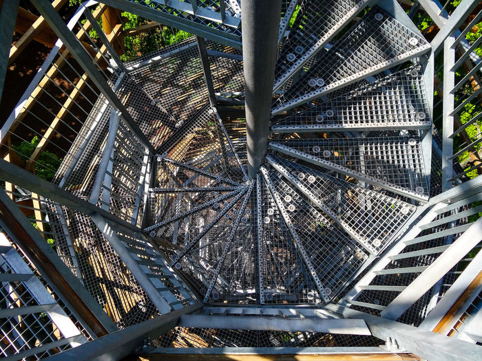 Acrophobia Architecture Badacsony Built Structure Day High Altitude High Tower Hungary Kisfaludy Kilátó Kisfaludy Look Out Tower Let's Go. Together. Lookout Tower Low Angle View Metal Modern Multilevel No People Outdoors Snail Stairs Spiral Stairs Stairs Tree Wood