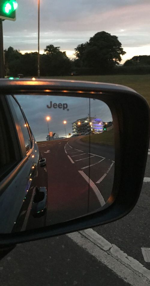 Road Transportation Car Sky Land Vehicle Side-view Mirror Mode Of Transport No People Illuminated Sunrise Motion Road Trip Outdoors Tree Nature Day Jeep Jeep Life Wing Mirror  Epsom Downs Racecourse Queens Stand Street Light Road