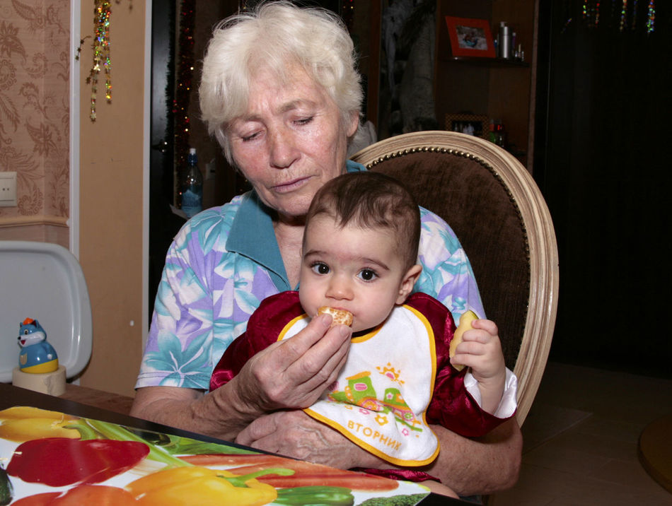 Beautiful stock photos of granny, 6-11 Months, 65-69 Years, Baby, Baby Boys