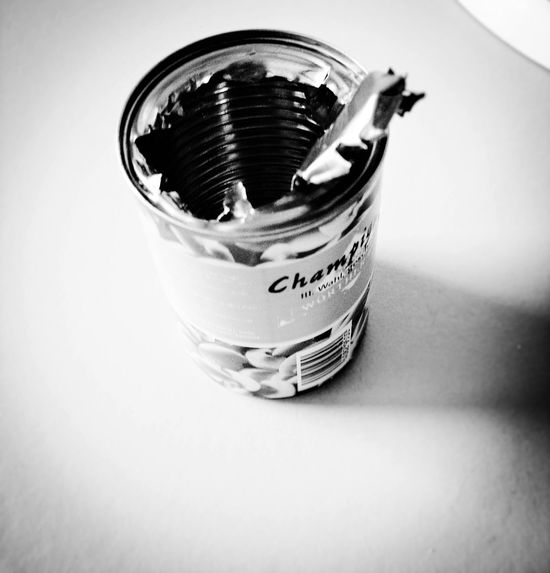 The can opener was broken and so I had to apply brutal forces to open this can with mushrooms. Maybe the force was with me. Black & White Black And White Blackandwhite Blackandwhite Photography Brutalism Can Close-up Deceptively Simple Different Empty Food Food And Drink Force Handmade Indoors  Metal Metallic My Unique Style NEM Still Life Selective Focus Simplicity Single Object Still Life Table Tools