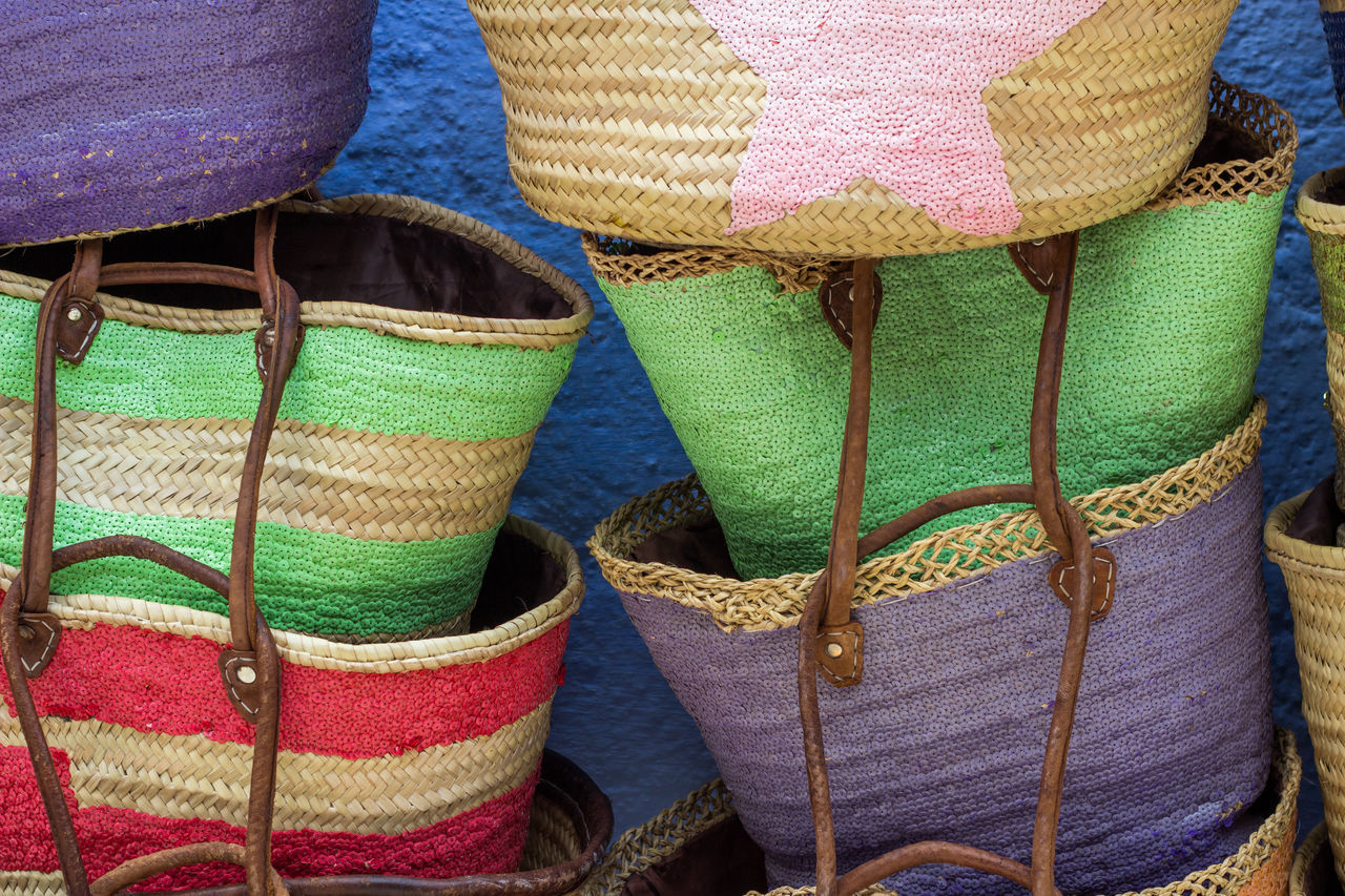 Artisanat Chefchaouen Choice Close-up Day For Sale Hand Bag Indoors  Marrakech Moroccan Artisanal Morocco Multi Colored No People Retail  Still Life Variation