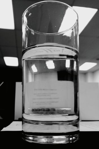 This is what I call see the glass half empty... Half Empty Water Reflections Water Glass Drinking Water Late In Class Glass - Material Monochrome Photography