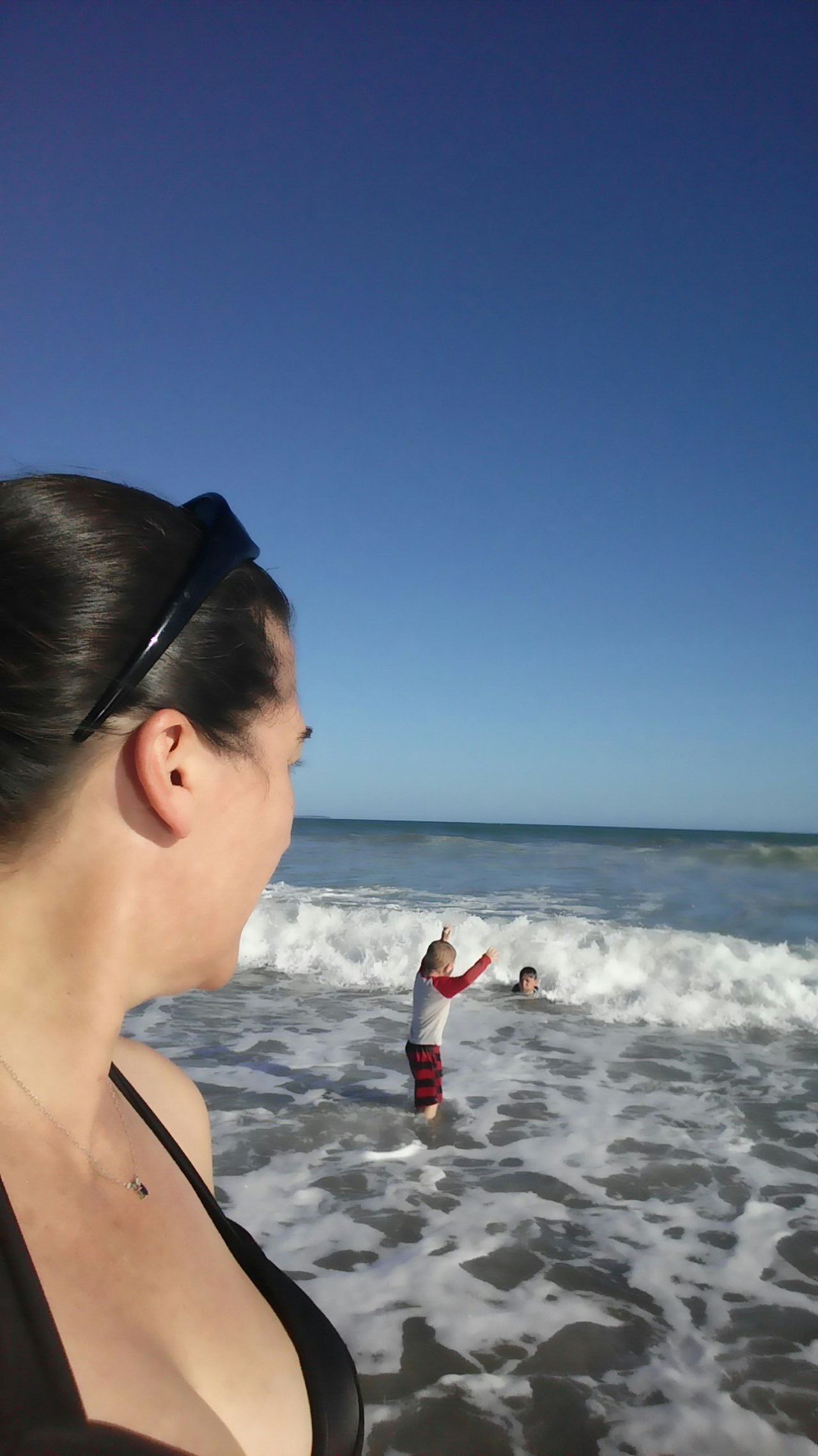 Children Distant Beach Mother Nephew  Son Adult Coastline Horizon Over Water Love New Zealand Leisure Activity Boys Waist Up Two Children Watching SeaVacations One Parent Bonding Showcase: February Colour Image Surf Nz Beach Happiness