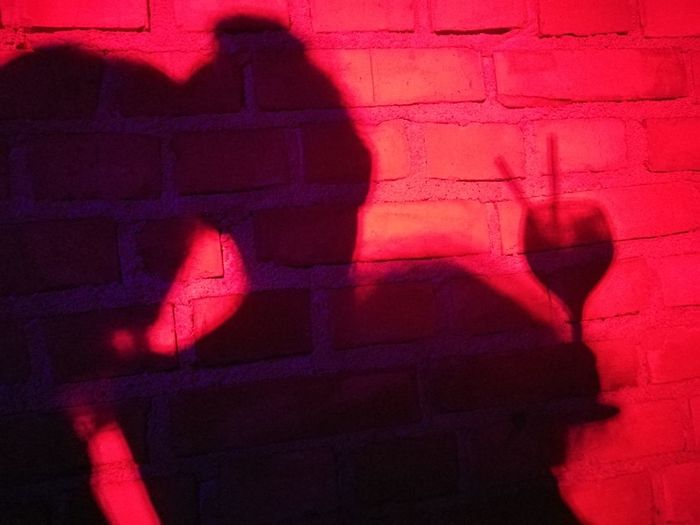 Shadows on the wall Red Nightlife Night Out Night Light Shadows & Lights Shadow Pink Color Red City Two Friends Two Woman Wineglass