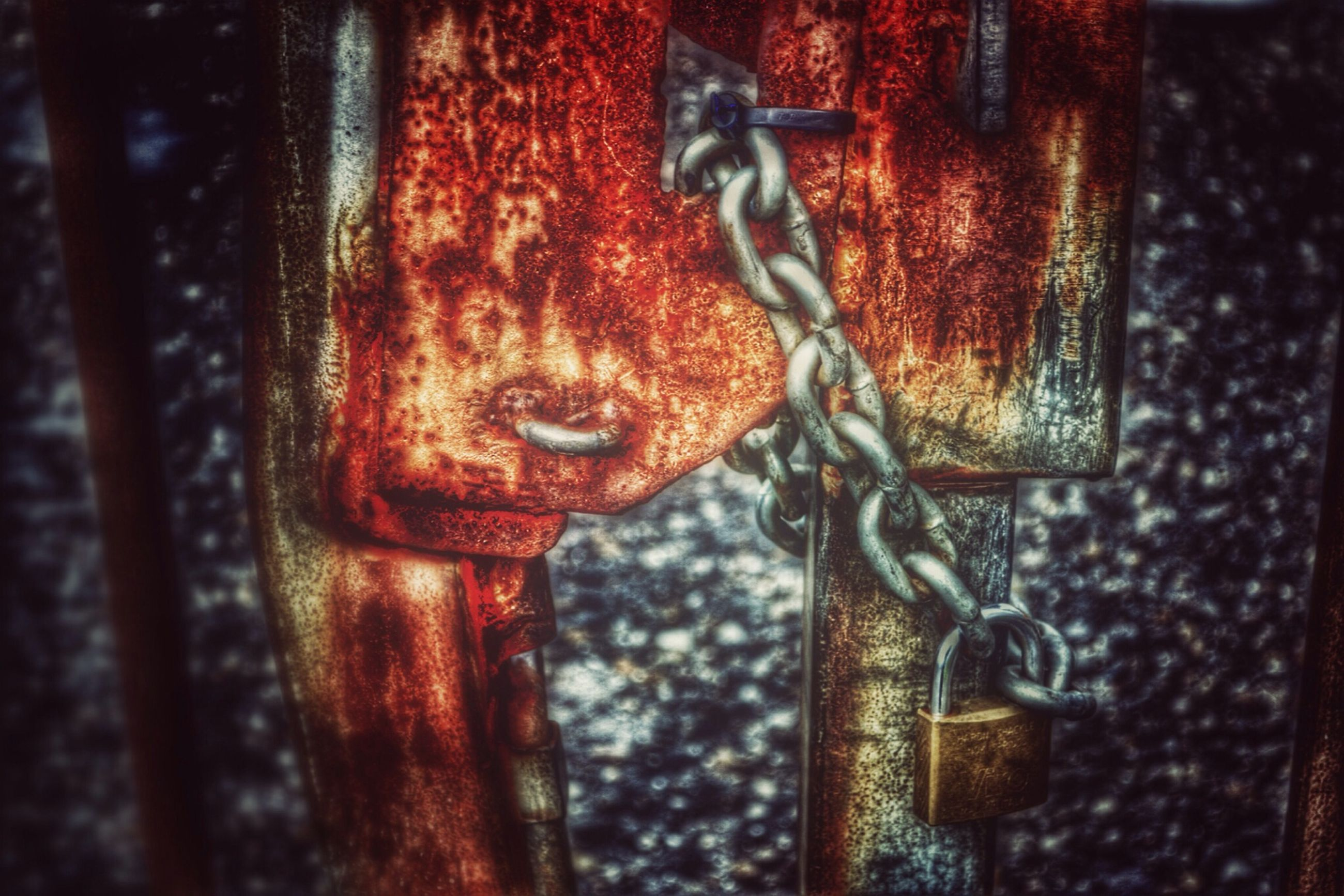 close-up, metal, rusty, old, focus on foreground, door, metallic, weathered, security, wood - material, protection, safety, indoors, no people, chain, lock, selective focus, art and craft, day, padlock