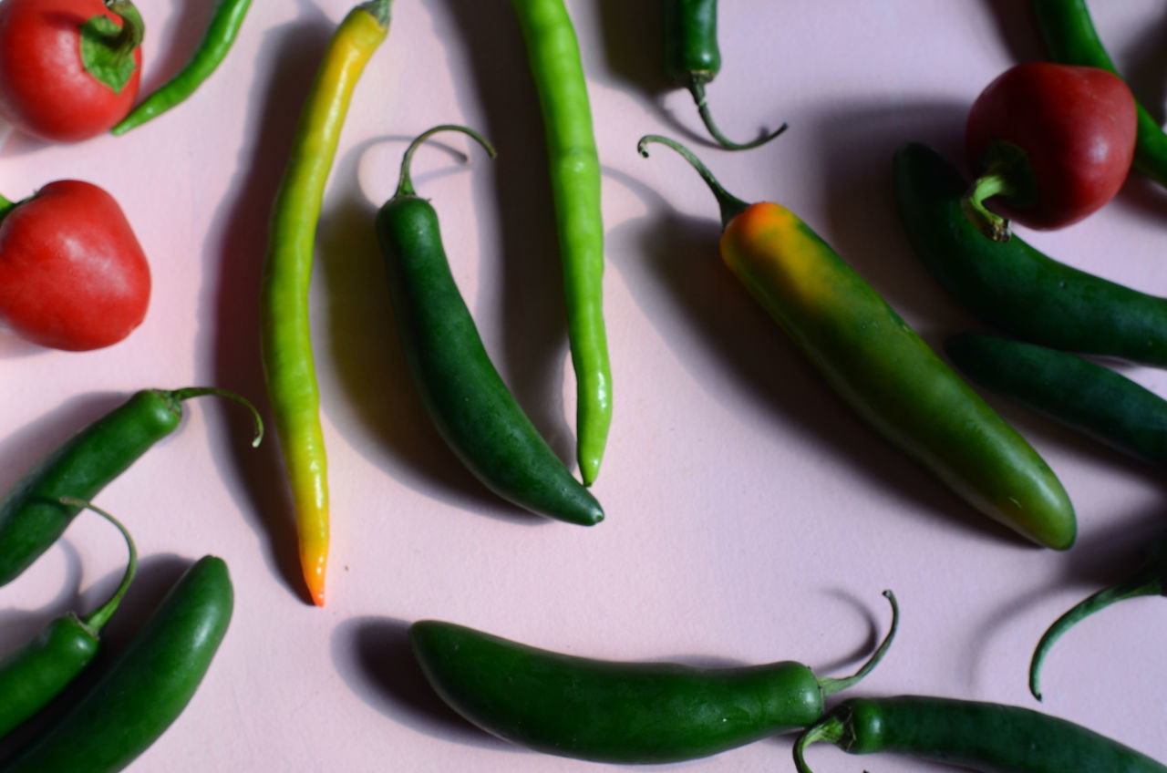 vegetable, food and drink, green color, food, healthy eating, still life, freshness, green chili pepper, no people, high angle view, table, close-up, indoors, bean, day