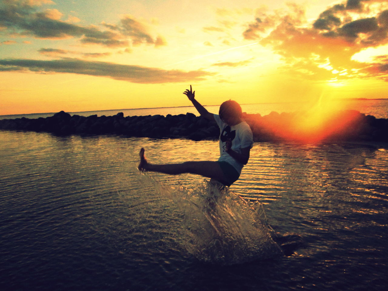 Free Water Ocean Sunset Person Sea Sea And Sky Girl Sunset_collection Kick Free 43 Golden Moments Fun Baunehøj Denmark Clouds And Sky Clouds Athleisure
