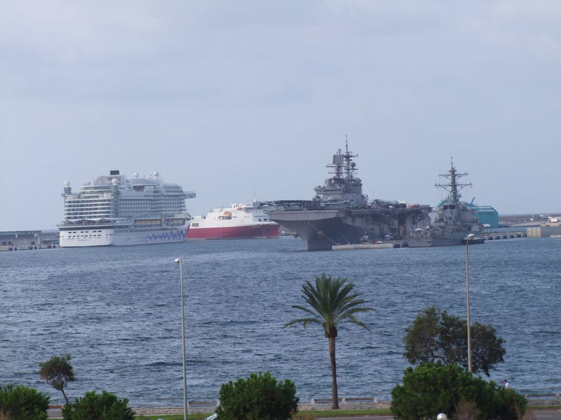 Cruis Liner & War Ships, Palma Port Blue Sky White Clouds Composition Cruise Liner Cruise Ship Mallorca Palma Palma De Mallorca SPAIN Distant View Distant View Over Water Mode Of Transport Nautical Vessels No People Outdoor Photography Palm Trees Palma Port Ripples In The Water Scenic View Sea Ship Transportation View Over Water Warships Water Waves