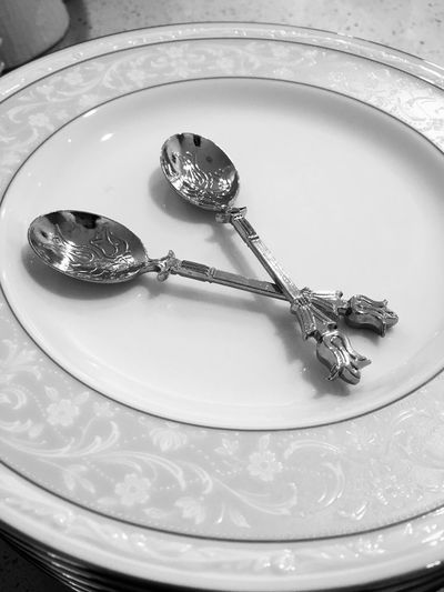 Two Is Better Than One Spoons Silver  Silverware  Cutlery Black And White Plates Pairs Detail