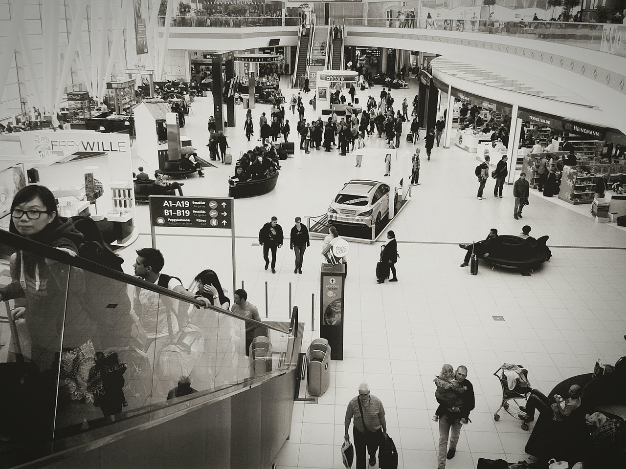 Budapest, Hungary Airport People Travellers Black & White In The Terminal