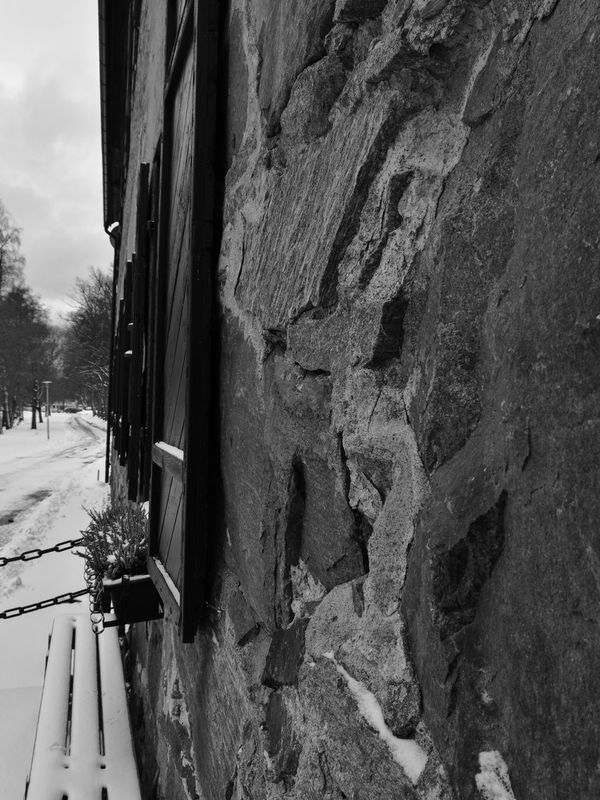 Outdoors Close-up Cold Temperature No People Sweden Black & White Photography Window Stone Värmland Snow Säffle