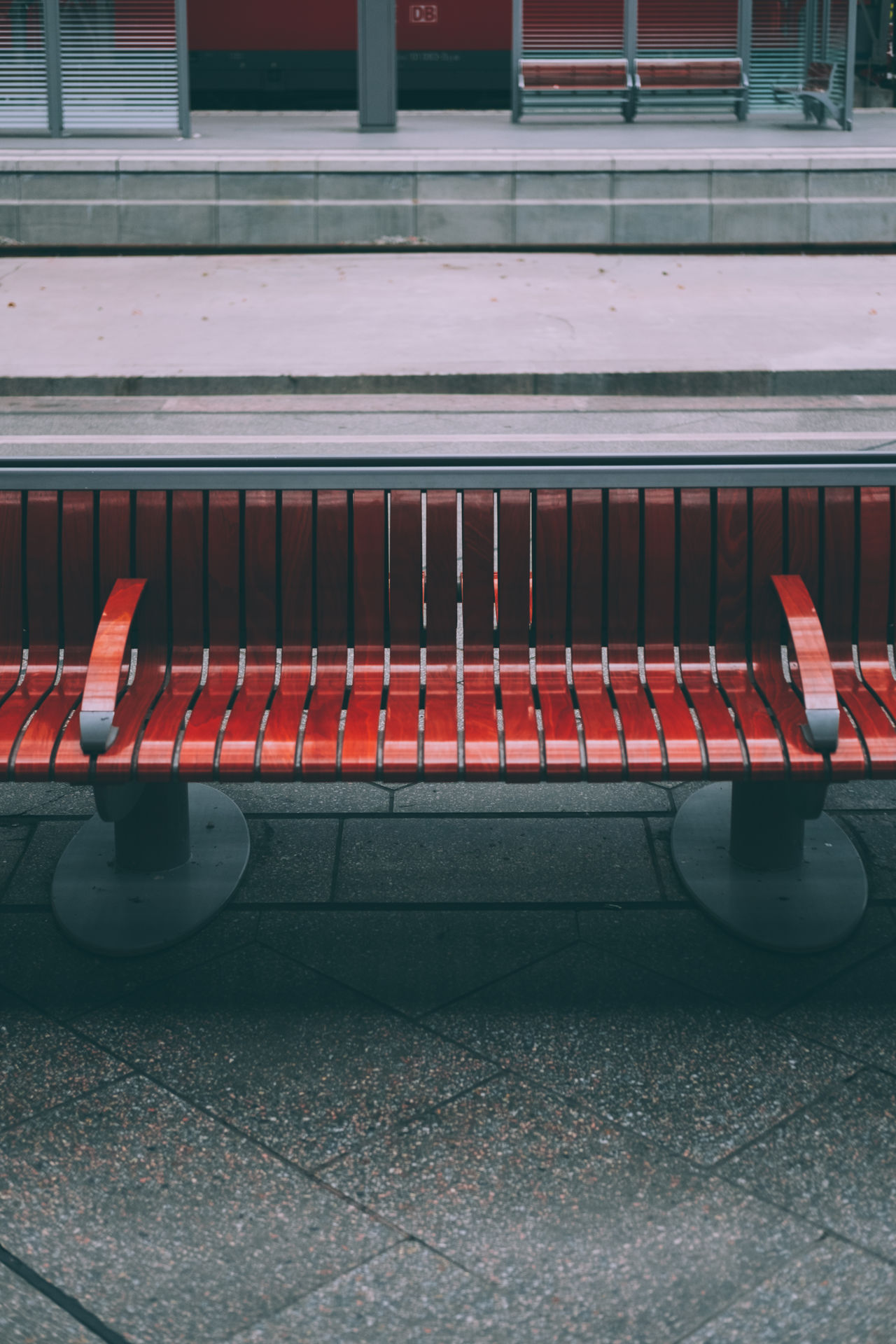 bench Bench Day No People Outdoors Red Shadows Trainstation Waiting