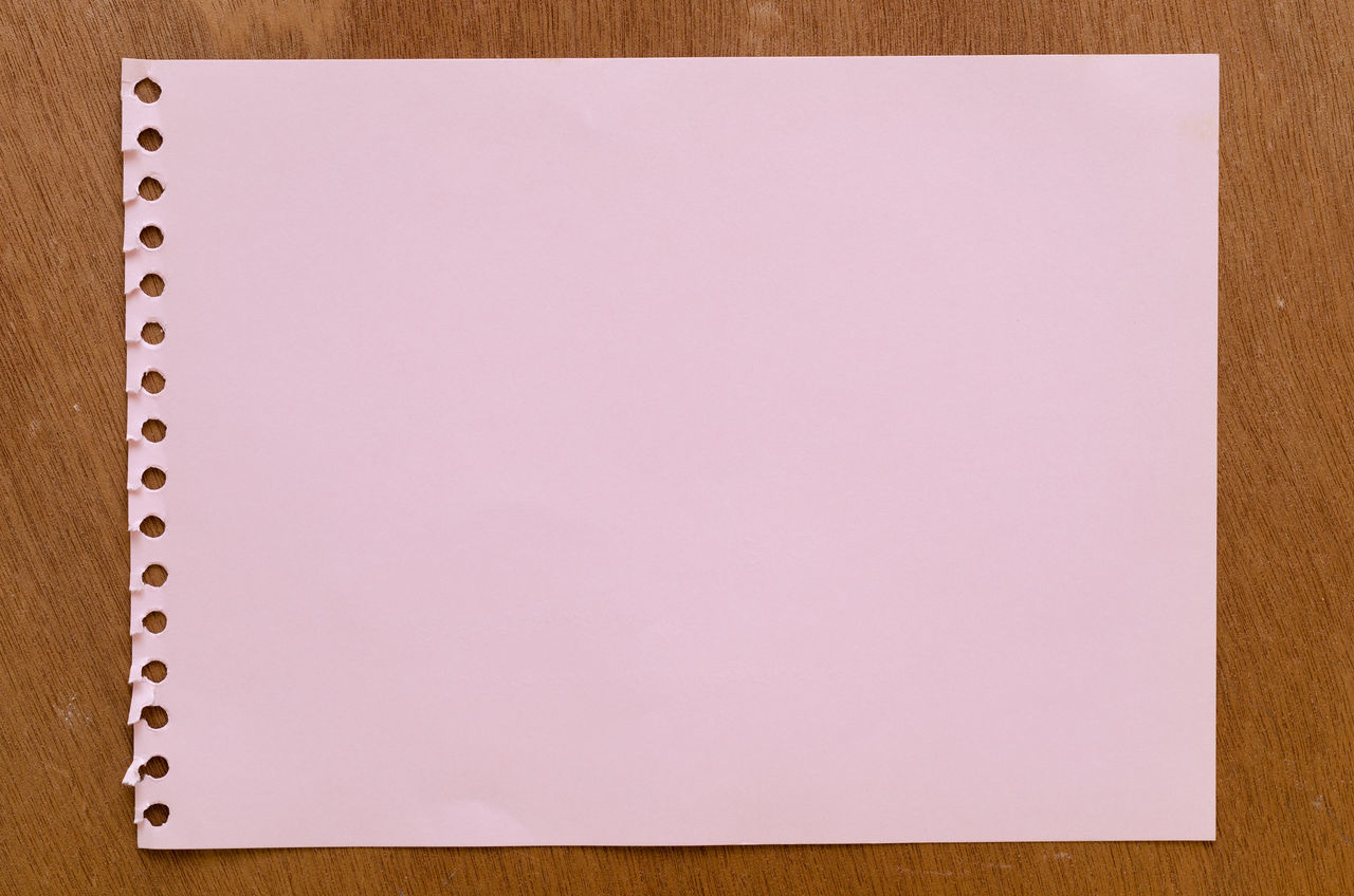 Backgrounds Blank Close-up Copy Space Empty Millennial Pink No People Note Pad NotePad Office Page Pink Color Notepad Punch Paper Ring Binder Studio Shot