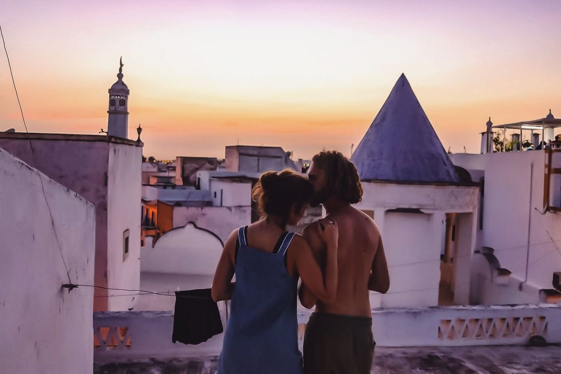 Two People Sunset Love Adult Couple - Relationship Travel Destinations Olhao Portugal Rooftop Evening Sky Old Town Backpacking Traveling