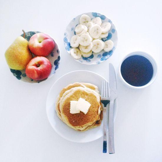 Gluten-Free Pancakes & Fruit Breakfast Yummy Pancakes Fruit Bonappetit Healthy