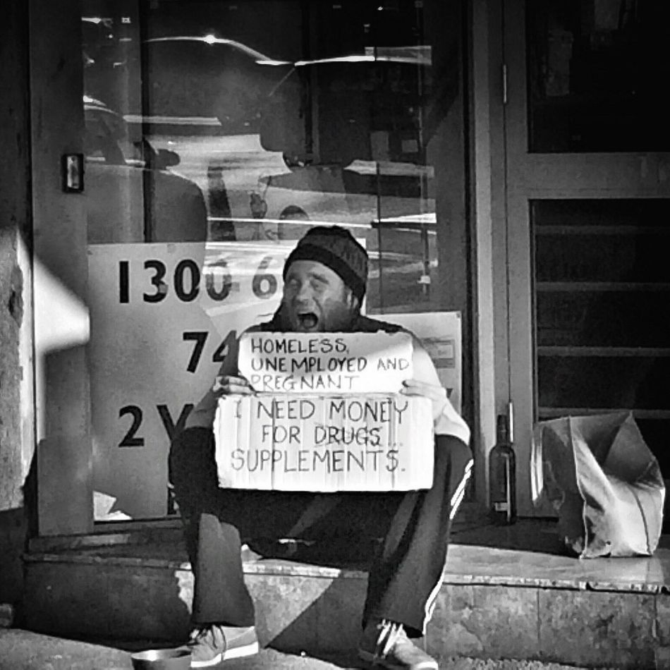 Homeless, unemployed & pregnant... Mobilephotography Blackandwhite Street Streetphotography Streetphoto_bw Melbourne Street Life Black And White People Watching Melbourne City