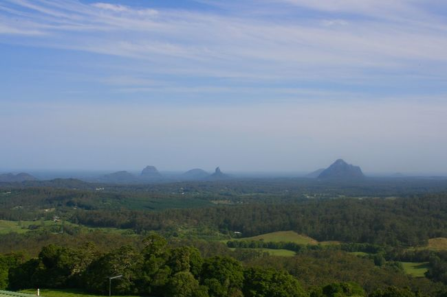 Glasshouse Mountains these are volcanic plugs...all that remain of volcanos.... On the Sunshine Coast in Queensland . Australia