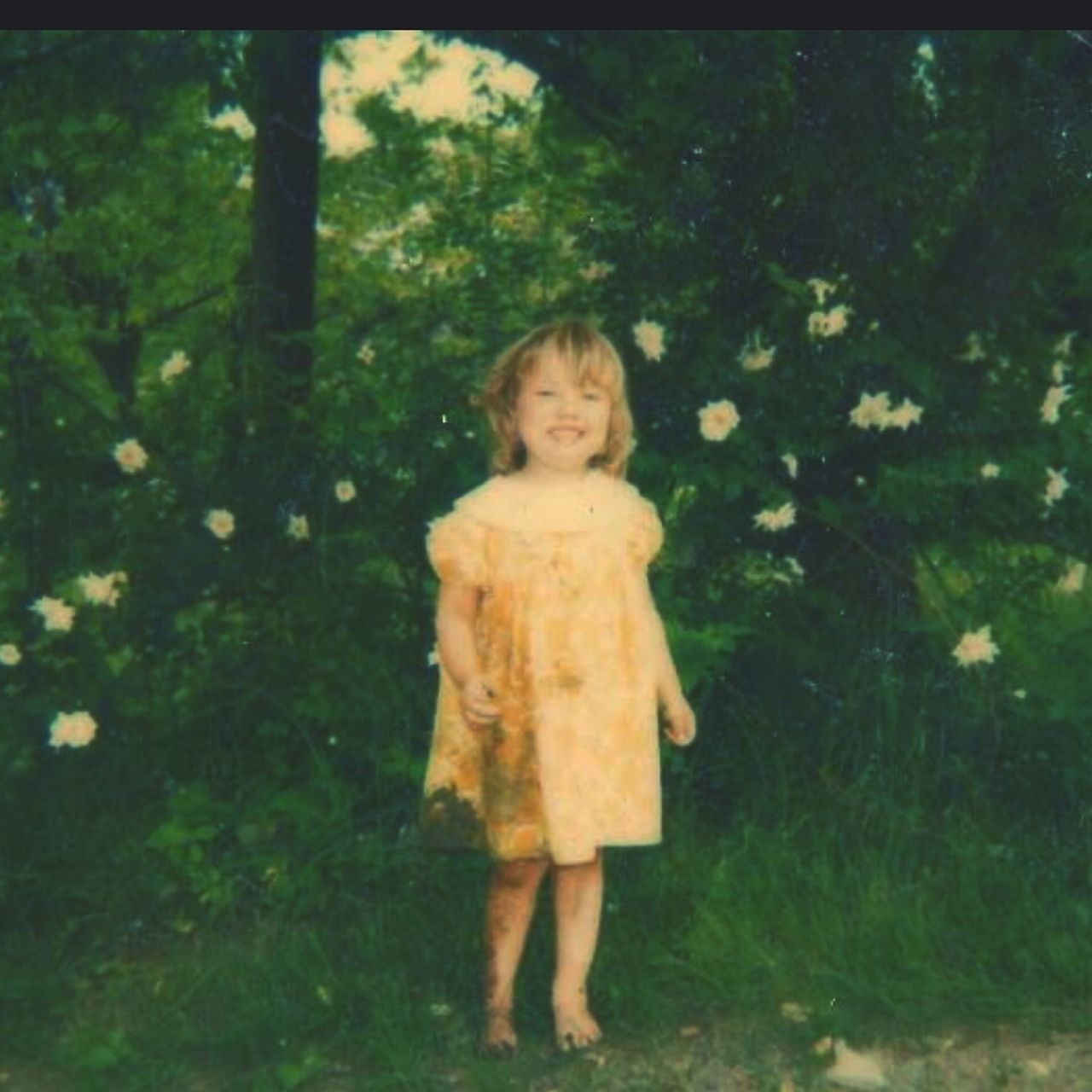 Mini Me In The 80s Little Girl Yellow Flowers In Nature  Mud Playful Child That Was Me