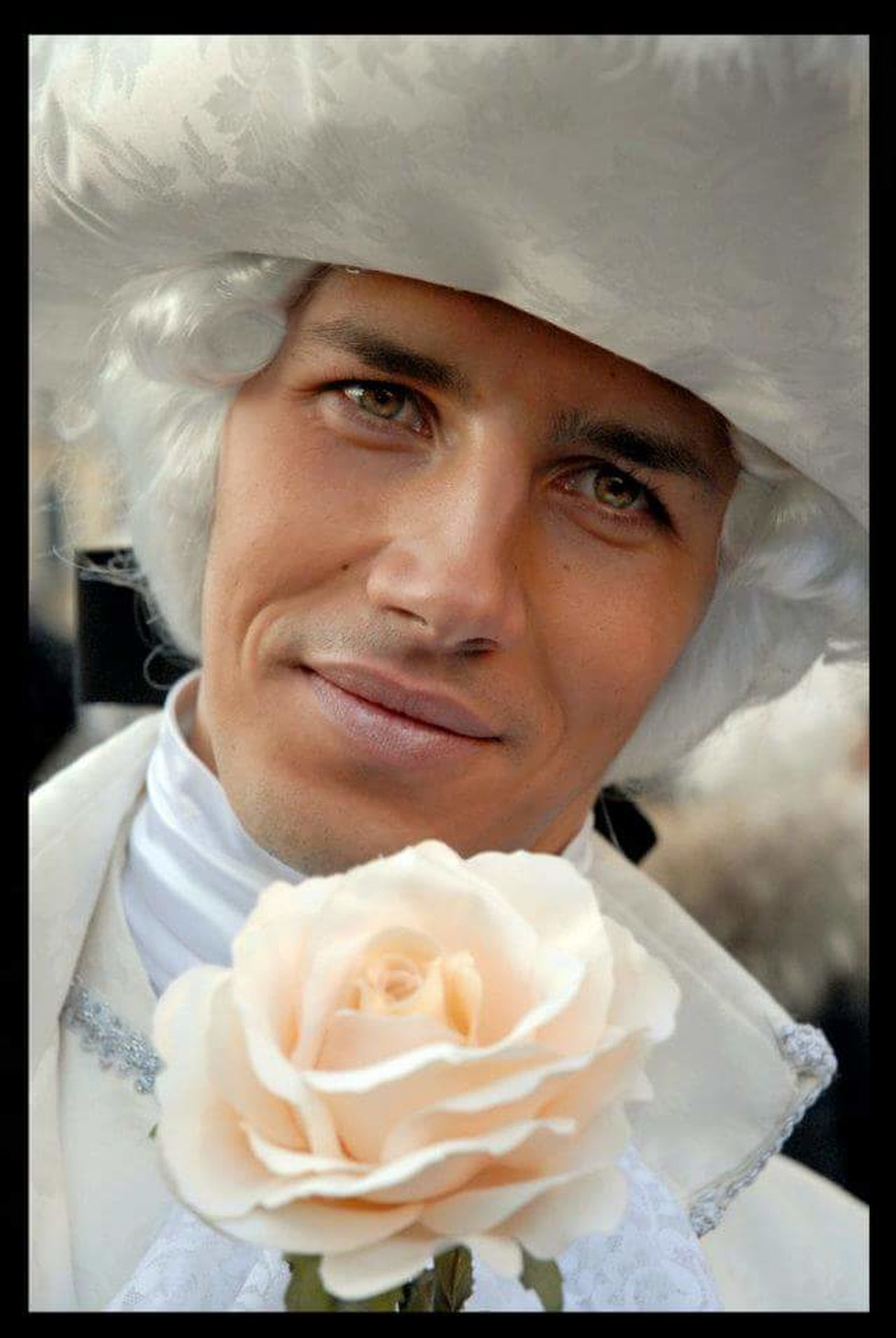 Portrait Looking At Camera Close-up One Person One Man Only Young Adult Men Real People Only Men Day Outdoors Smiling Rose🌹 Flower White Rose Carneval Venice, Italy